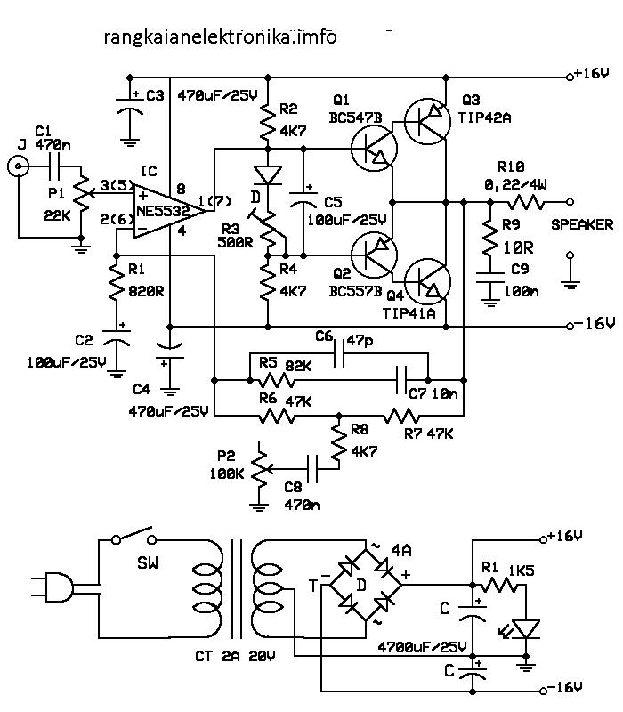 Gambar Skema Rangkaian Amplifier 10 Watt Dengan Bass Boost