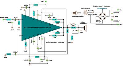 Gambar Skema Rangkaian Audio Amplifier 200 Watt