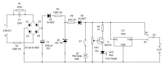 Gambar Skema Rangkaian Power Supply Portabel