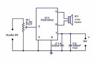 Gambar Skema Rangkaian Mini Audio Amplifier