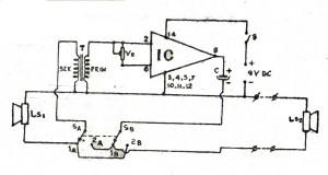 Gambar Skema Rangkaian Interkom Satu IC