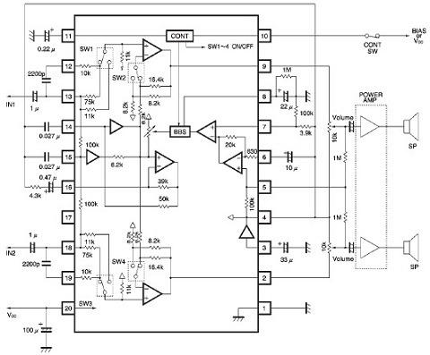 Gambar Skema Rangkaian Radio Cassette Player Bass Booster