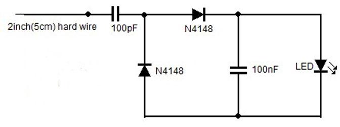 Gambar Skema Rangkaian Detektor Radiasi RF Ponsel