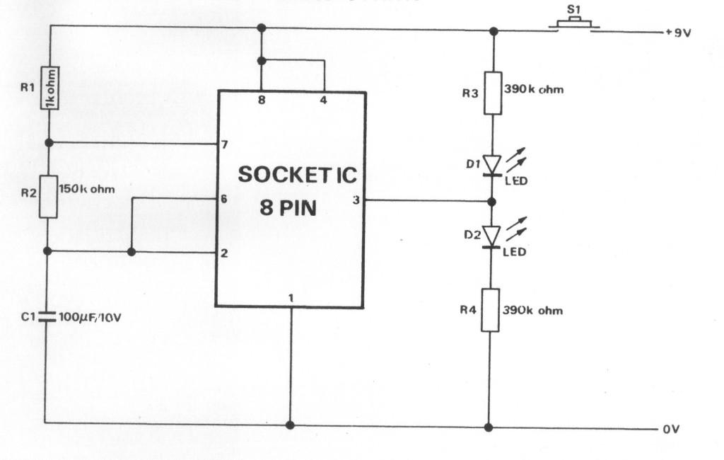 Gambar Skema Rangkaian Penguji IC 555