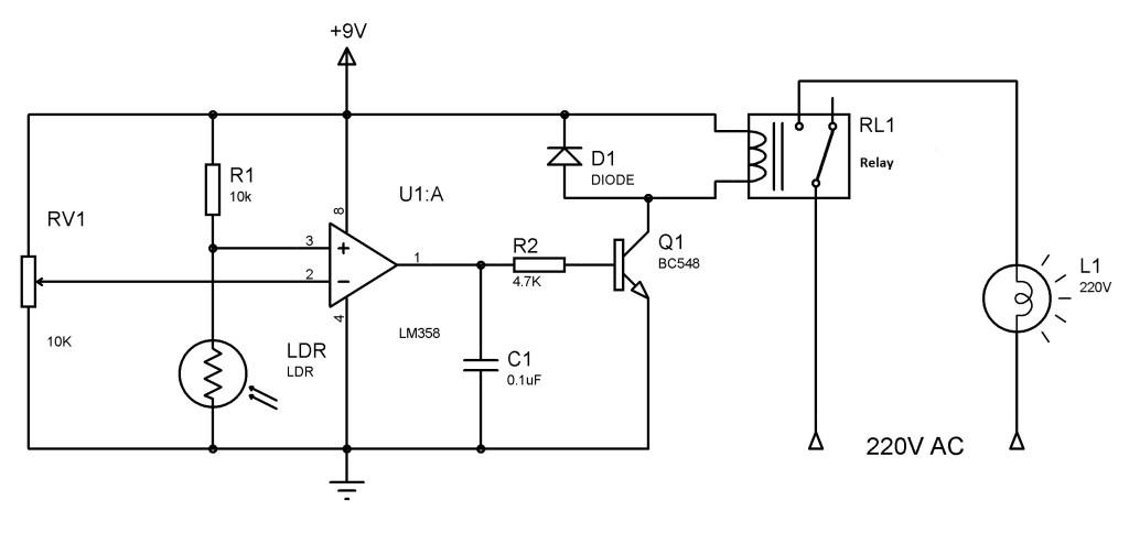 electro  rangkaian pengendali lampu taman otomatis