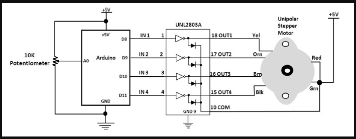 2 skema rangkaian penggerak motor stepper dc arduino